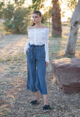 Tied Indigo Pants With Short Length
