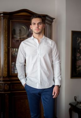 White Shirt With Jacquard