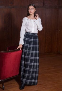 Blue Check Design Long Skirt